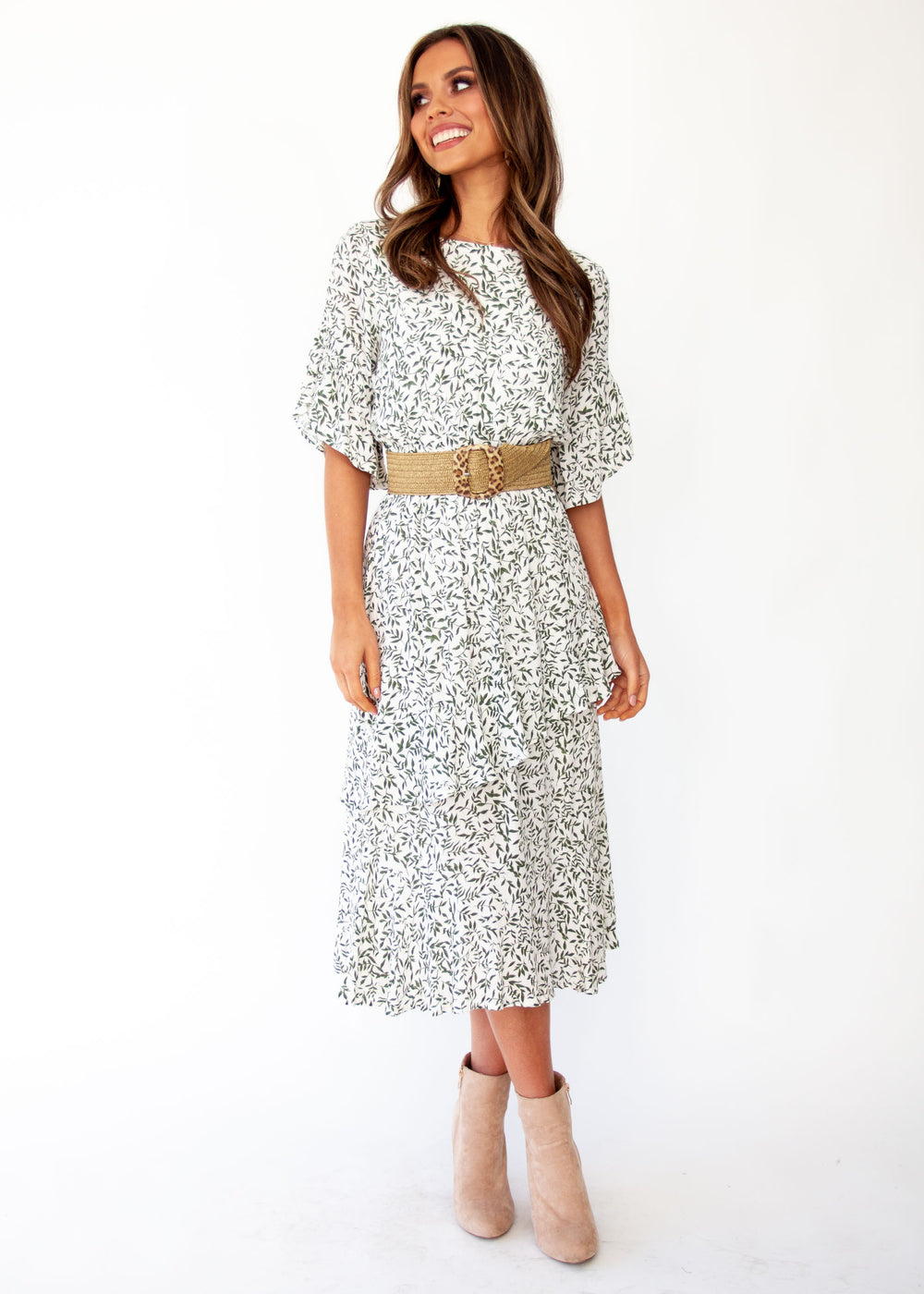 Women's Santiago Midi Dress - White Vine