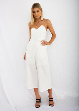 Rapid Fire Linen Strapless Pantsuit - White