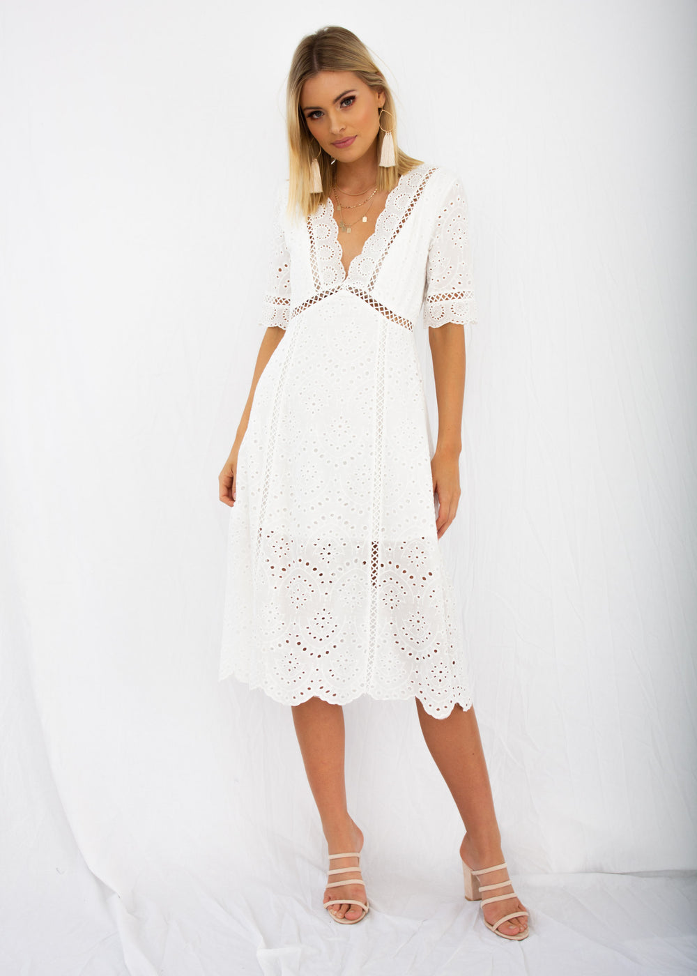 Marlow Midi Dress - White Anglaise