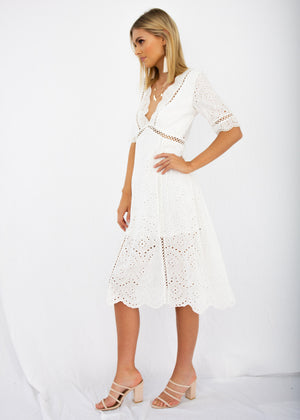 0cbbe75ad03 Marlow Midi Dress - White Anglaise – Gingham and Heels