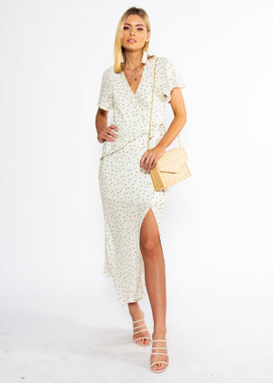 Sweet Flourish Wrap Maxi Dress - Cream