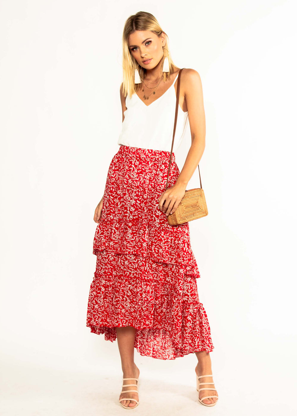 Bridget Maxi Skirt - Red Floral
