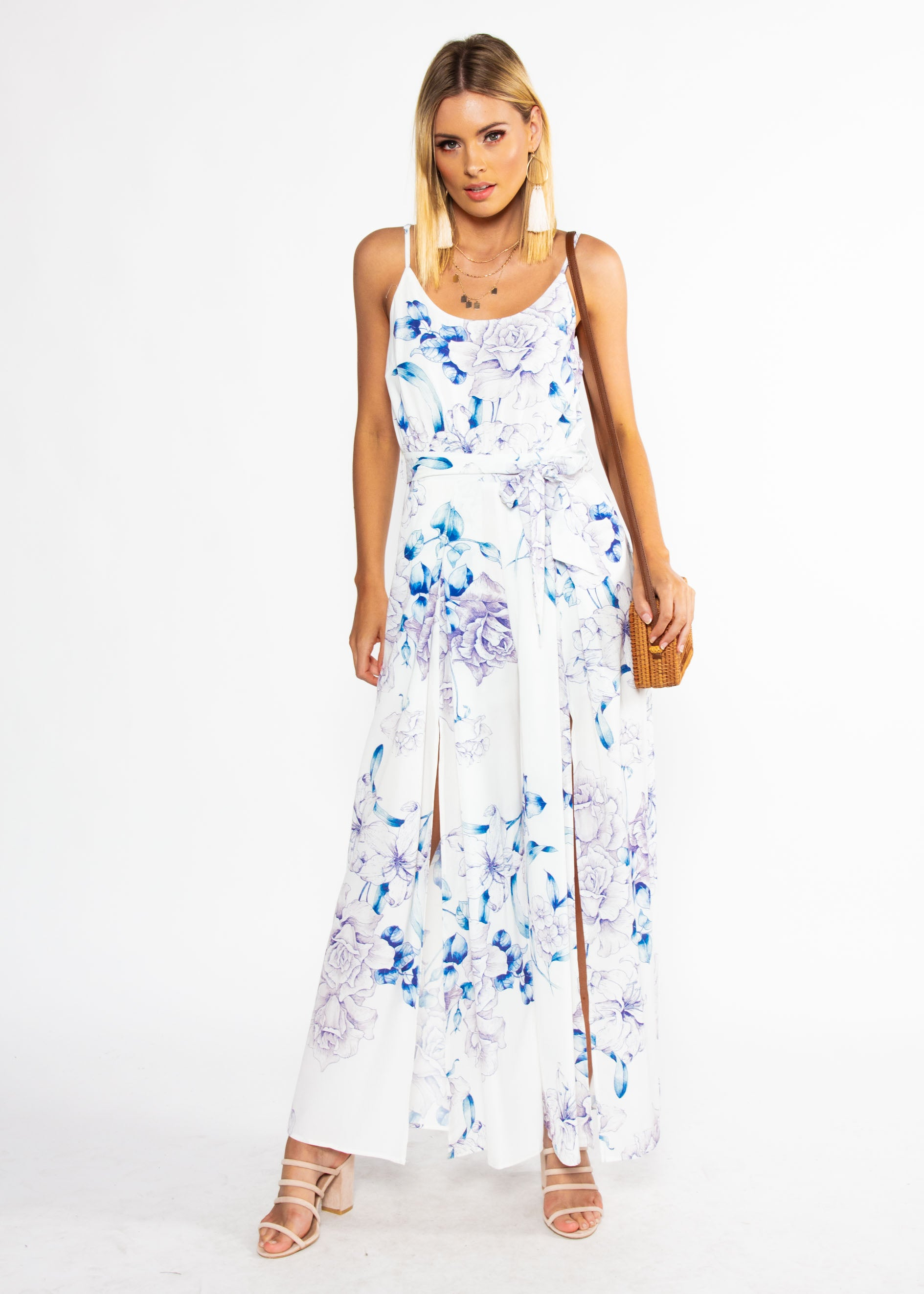 Electric Feeling Pantsuit w/ Tie - White Floral