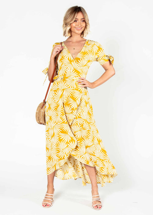Golden Rule Wrap Midi Dress - Mustard Palms