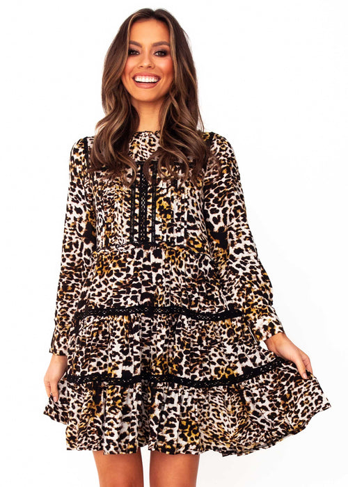 Women's Fernanda Swing Dress - Becca - Jaase - Leopard Print