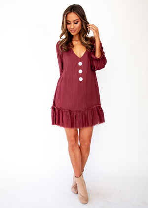 Jerona Dress - Maroon