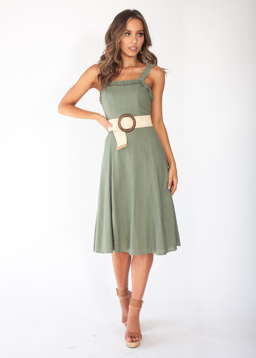 Katia Midi Dress - Khaki