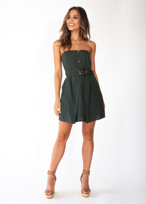 Hold Me Close Strapless Dress - Forest Green