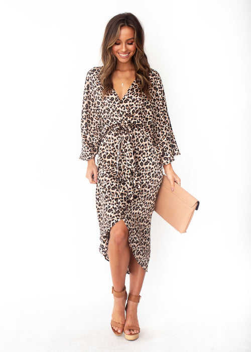 Slipping Away Midi Dress - Leopard Print