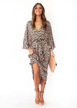 Slipping Away Midi Dress - Leopard