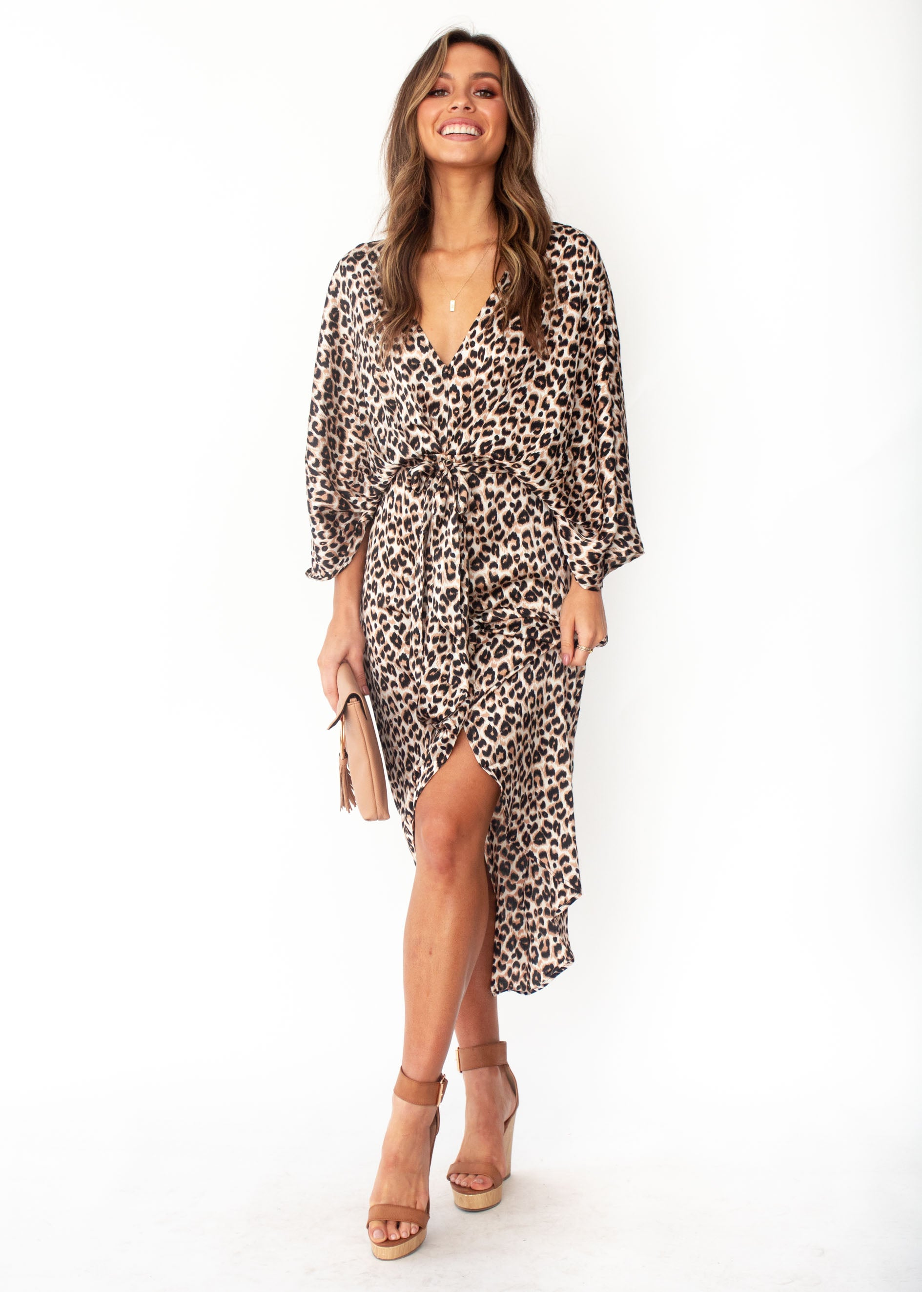Women's Slipping Away Midi Dress - Leopard Print