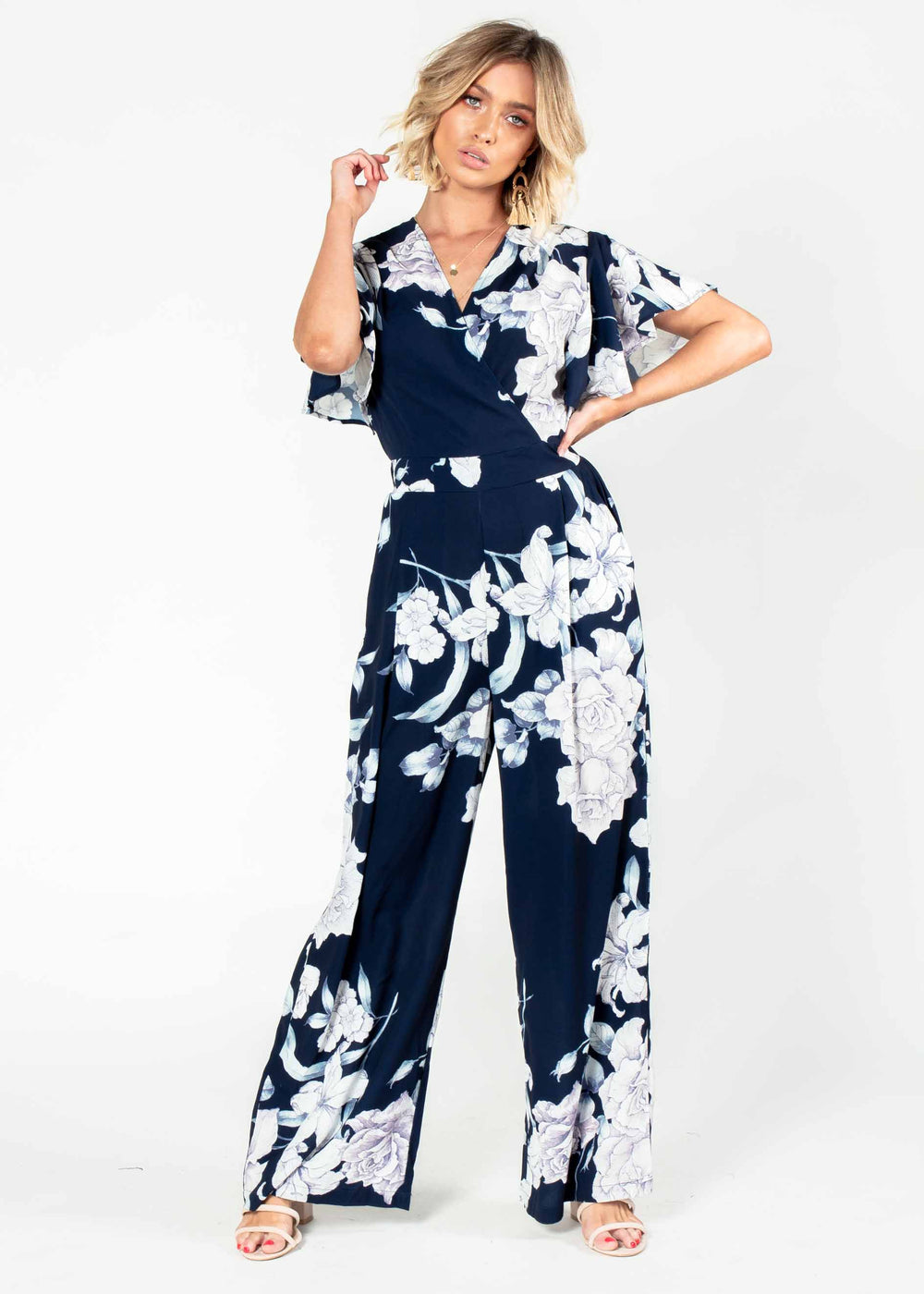 Lead The Way Pantsuit - Navy Floral