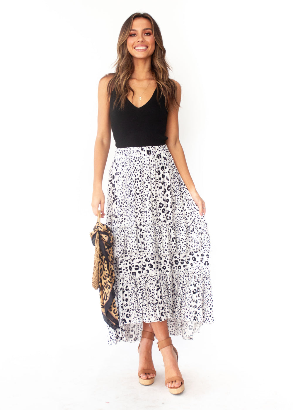 Women's Bridget Maxi Skirt - Snow Leopard Print