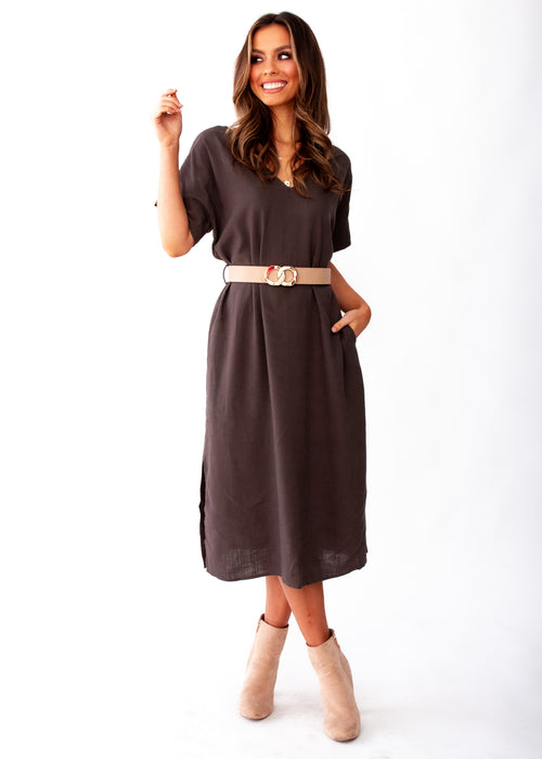 Women's Bayside Linen Midi Dress - Dark Khaki