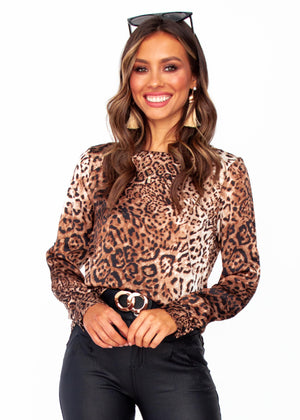 Women's Jasper Zip Back Blouse - Leopard