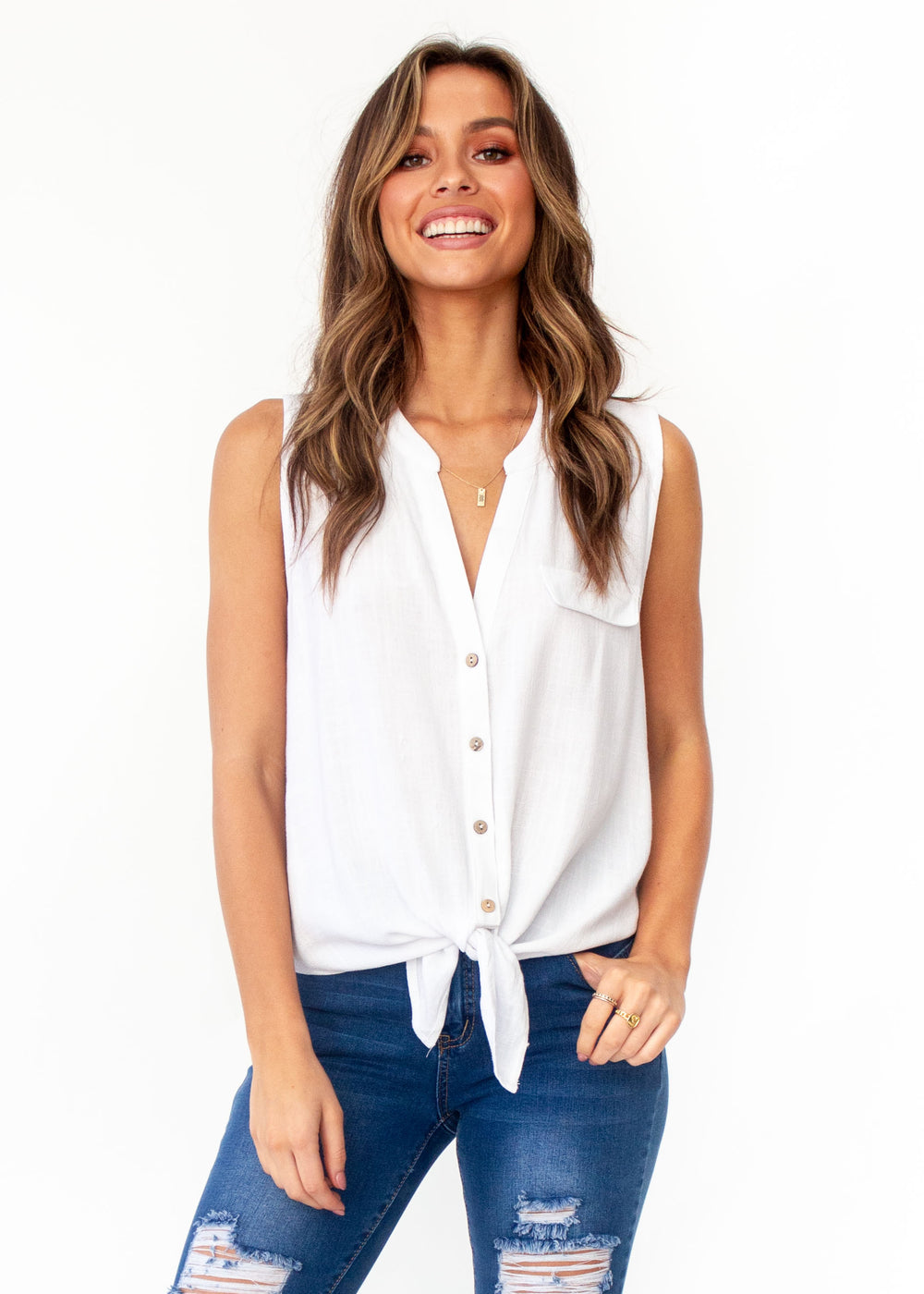 Catriona Tie Front Top - White