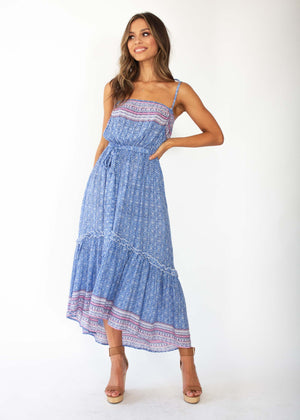 Beronia Hi-Lo Maxi Dress - Blue Speck