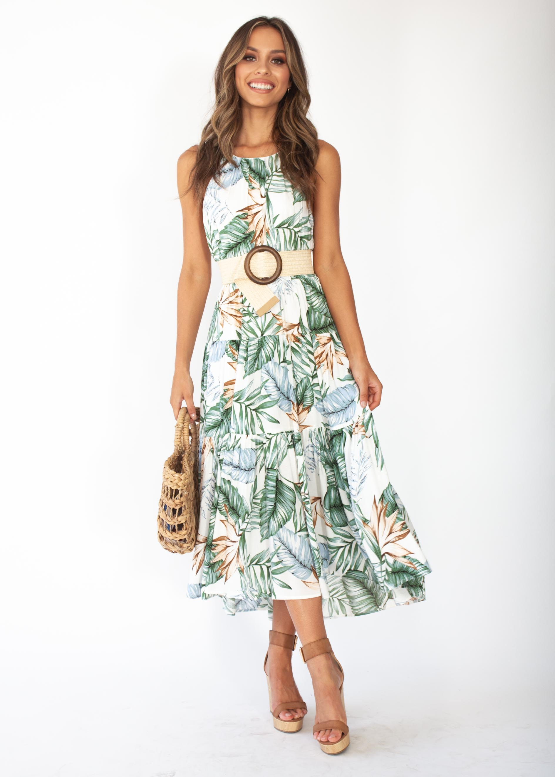 Women's Solstace Midi Dress - White Green Palm Print