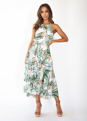 Solstace Midi Dress - White Green Palm Print