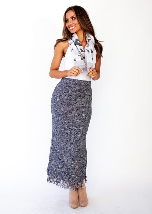 Women's Pampas Knit Maxi Skirt - Navy