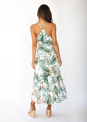 Solstace Midi Dress - White Palm