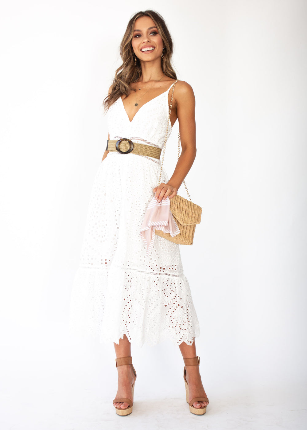 Rayleigh Midi Dress - White Anglaise