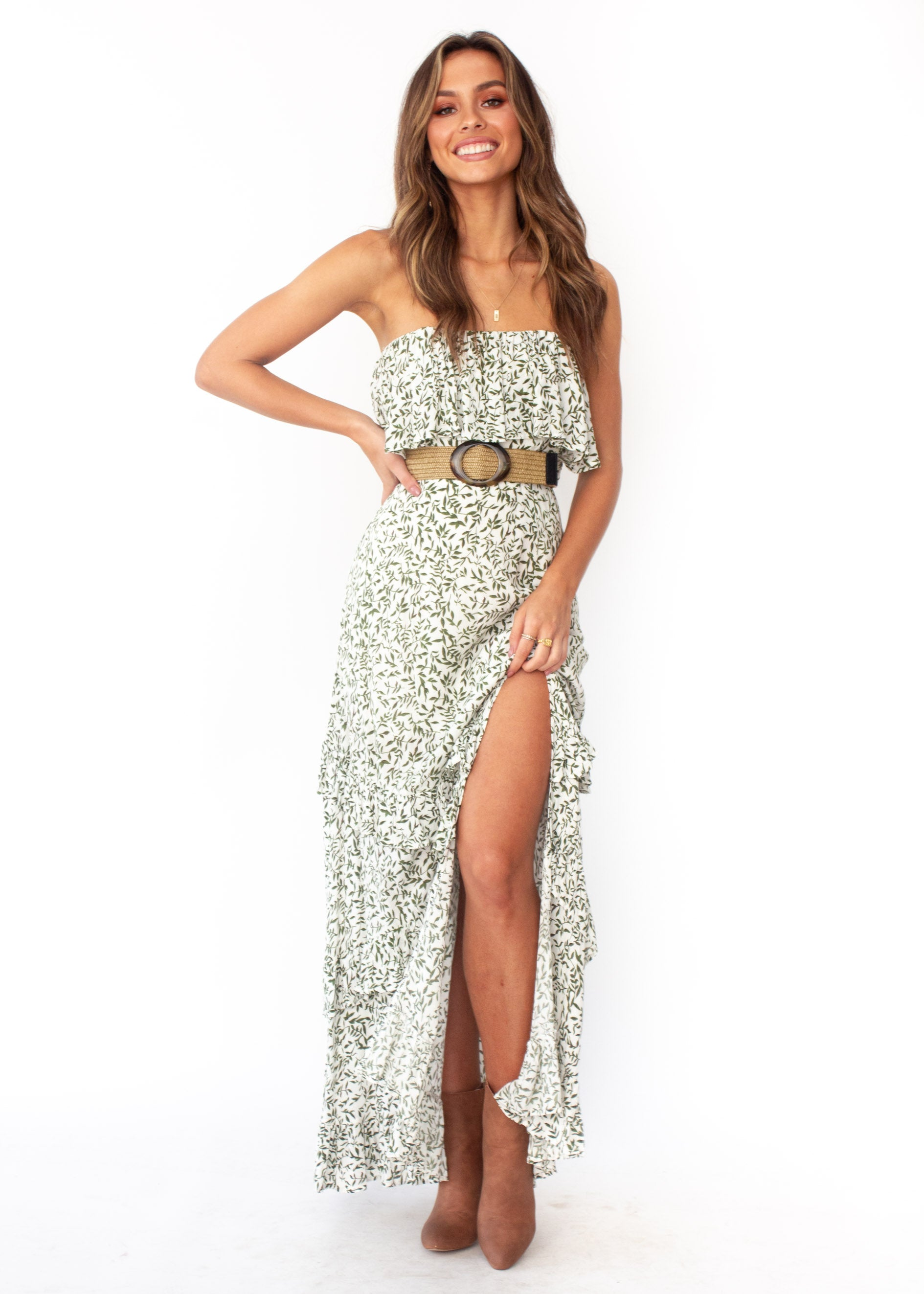 Women's Bexley Strapless Maxi Dress - White Vine Print