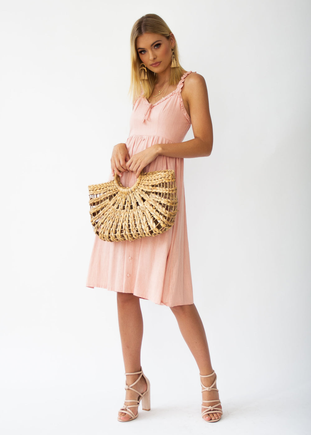Alara Linen Midi Dress - Dusty Peach
