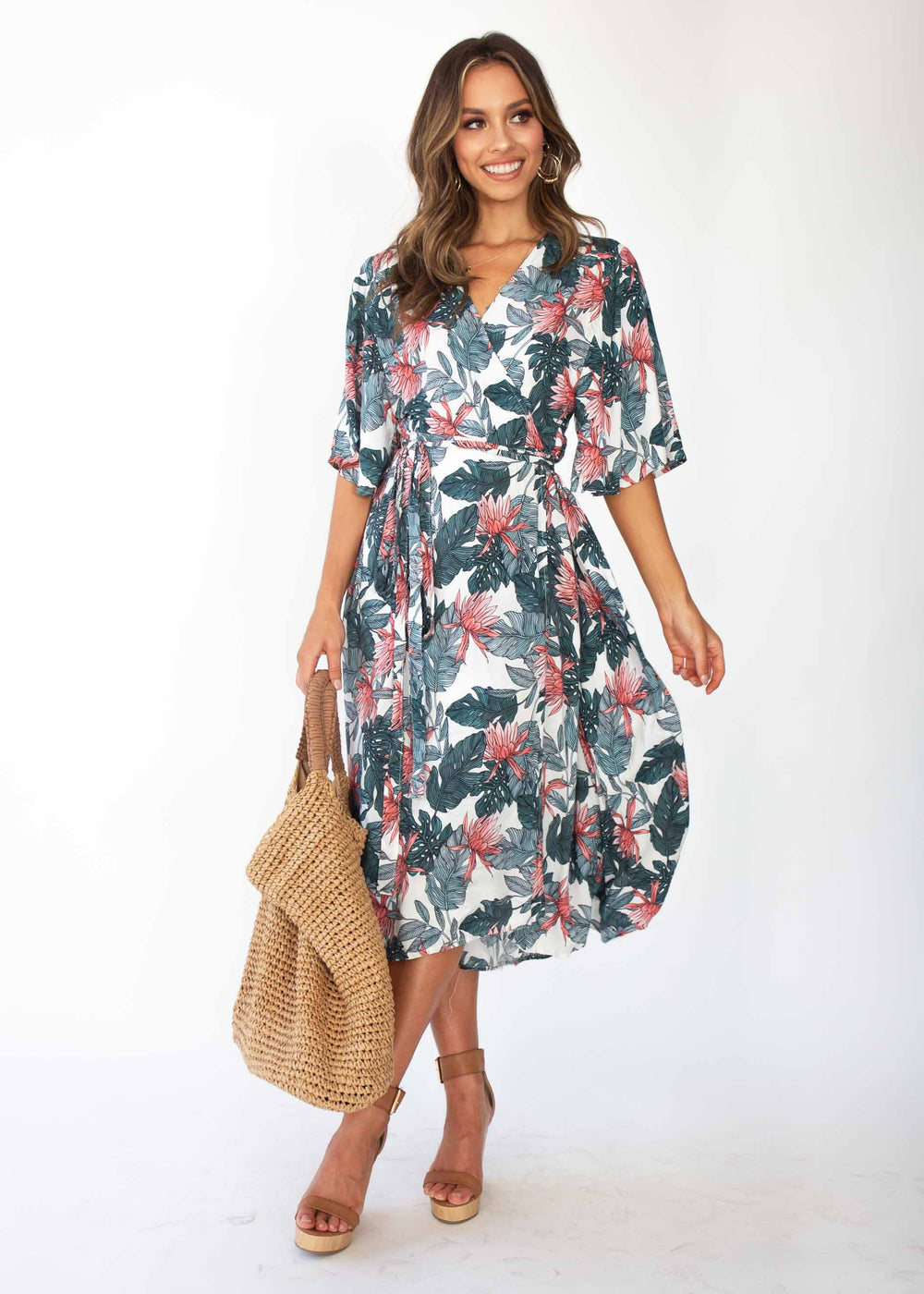 Cara Wrap Midi Dress - Waterlily