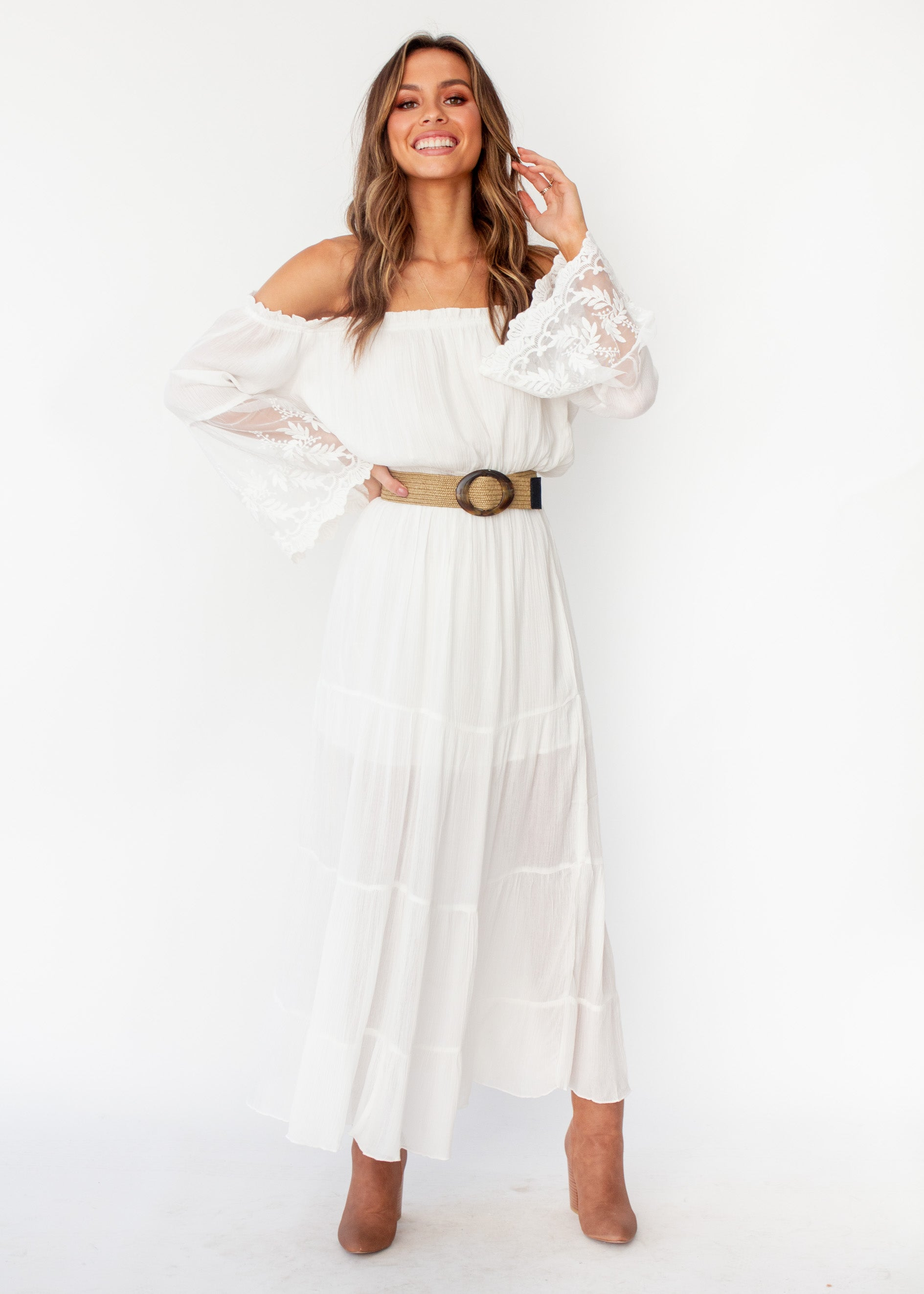 Women's Peasant Fairy Off Shoulder Boho Maxi Dress - White - Jaase
