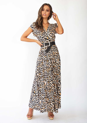 That Thing Wrap Maxi Dress - Nude Leopard