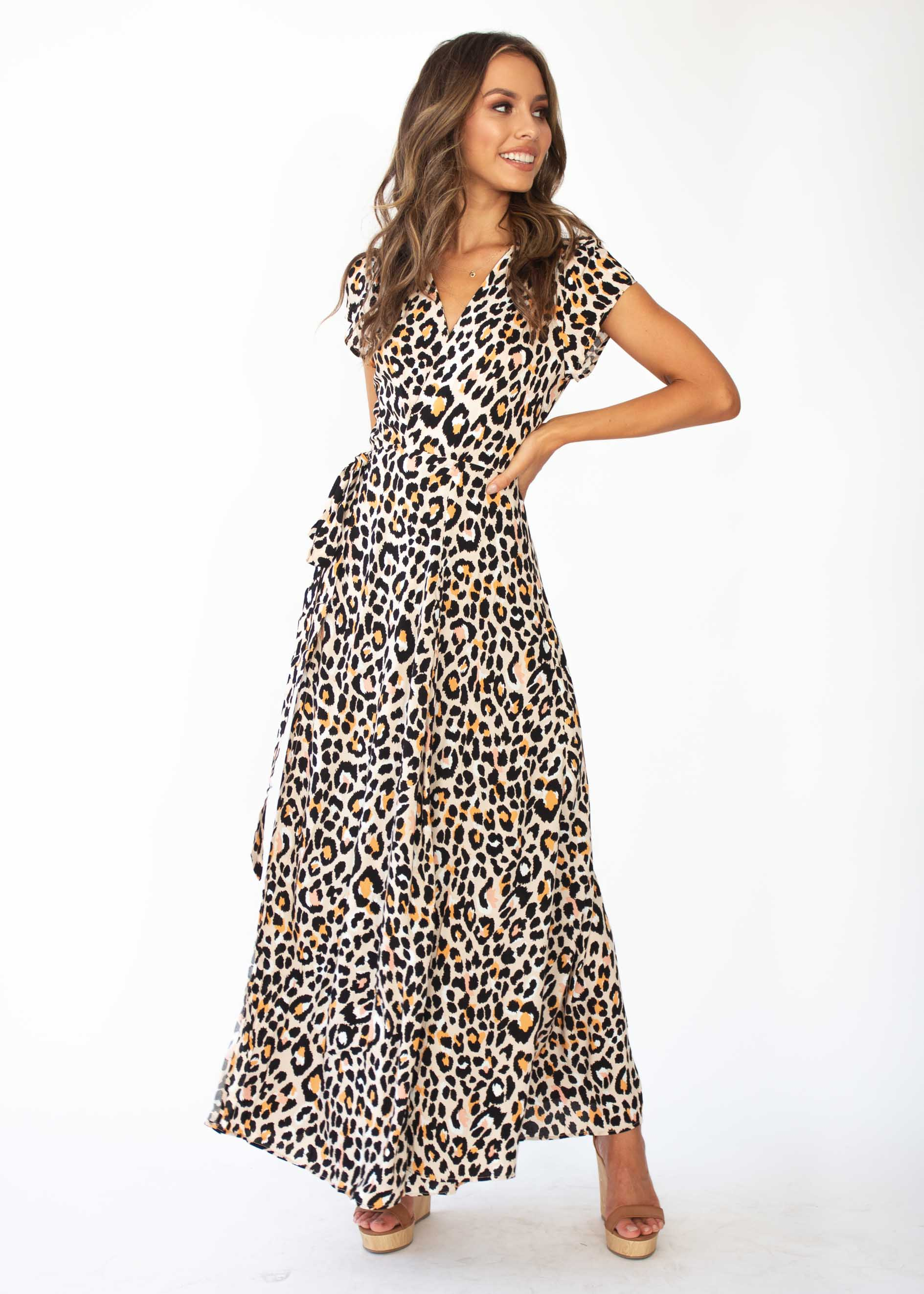 97cad44e9a3026 That Thing Wrap Maxi Dress - Nude Leopard – Gingham and Heels