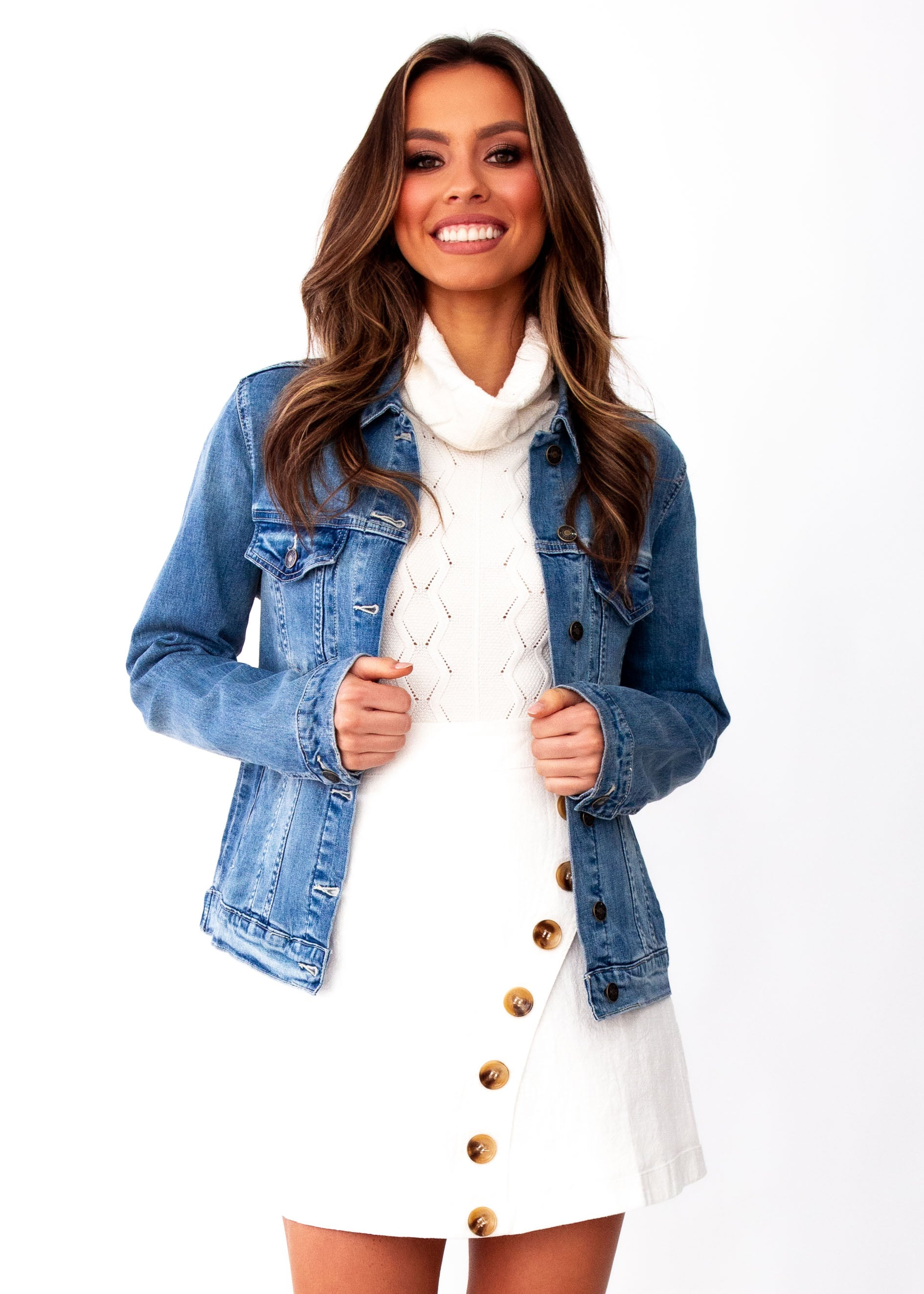 Women's Keller Denim Jacket - Mid Blue - Jaase