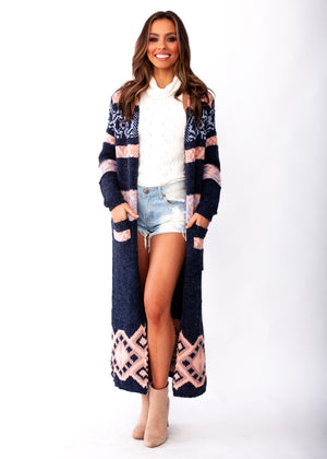 Women's Blossom Hooded Cardigan - Navy/Blush - Jaase