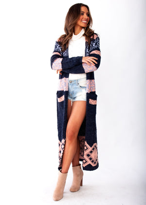 Blossom Hooded Cardigan - Navy/Blush - Jaase
