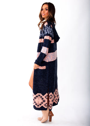 Blossom Hooded Cardigan - Navy/Blush