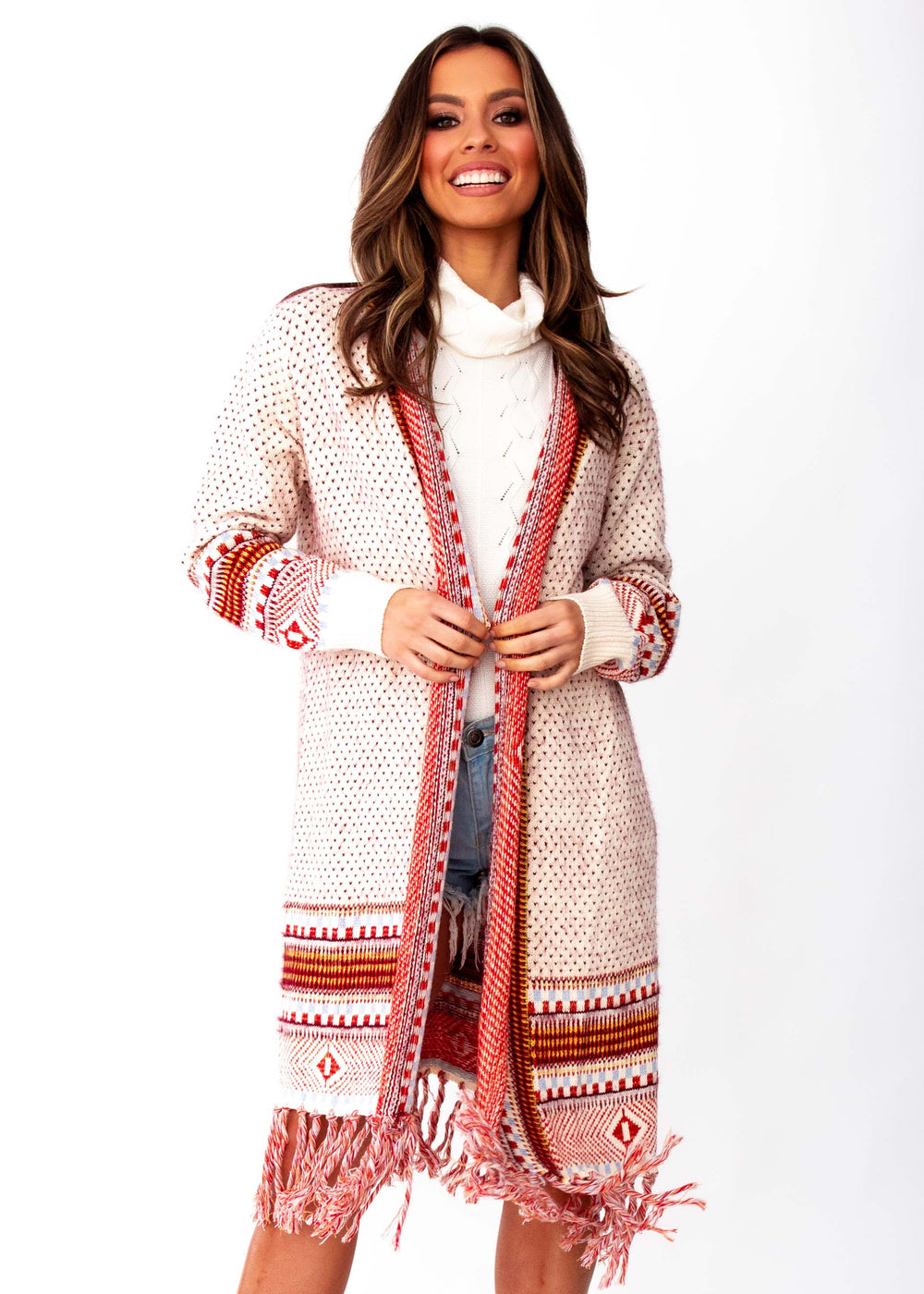 Woman's In The Air Aztec Cardigan - Cream