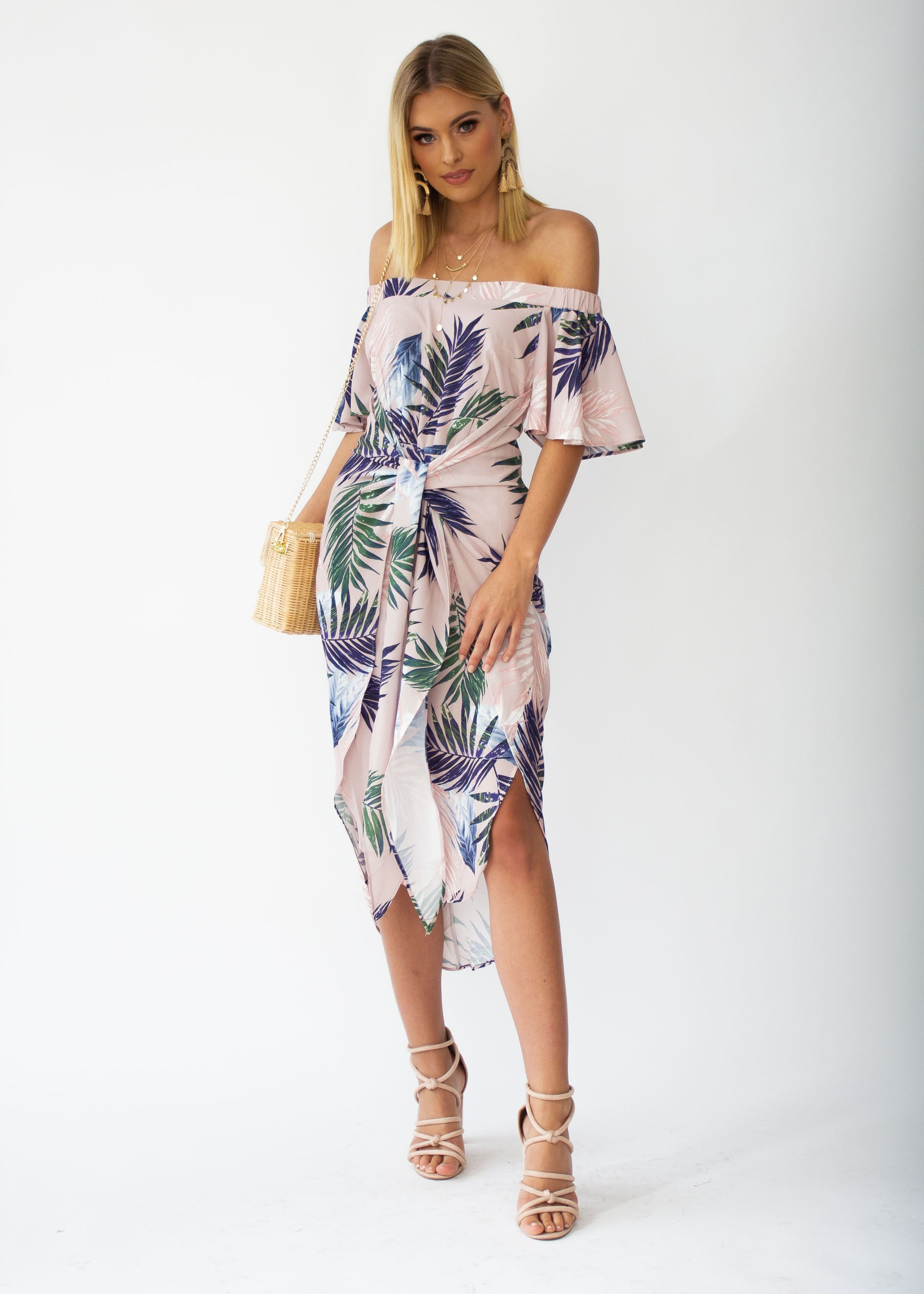 Candid Moment Off Shoulder Midi Dress - Blush Palm