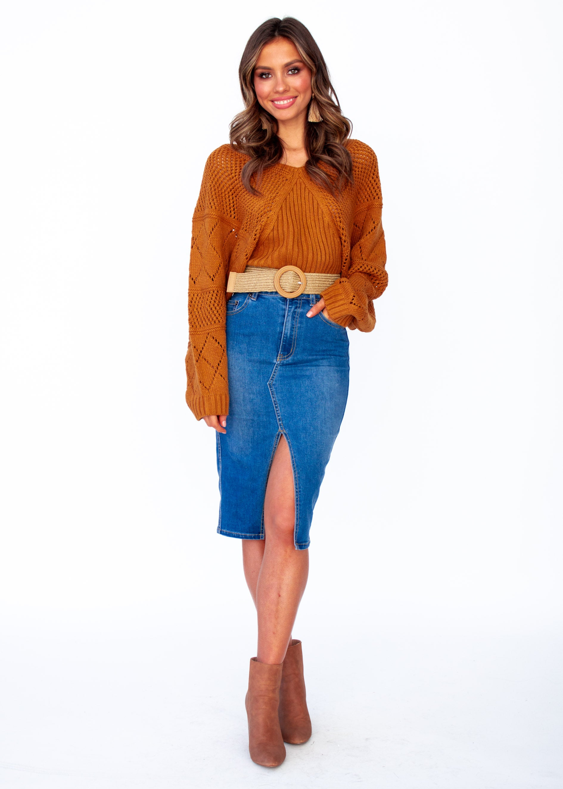 Women's Moroccan Moments Knit Top - Rust