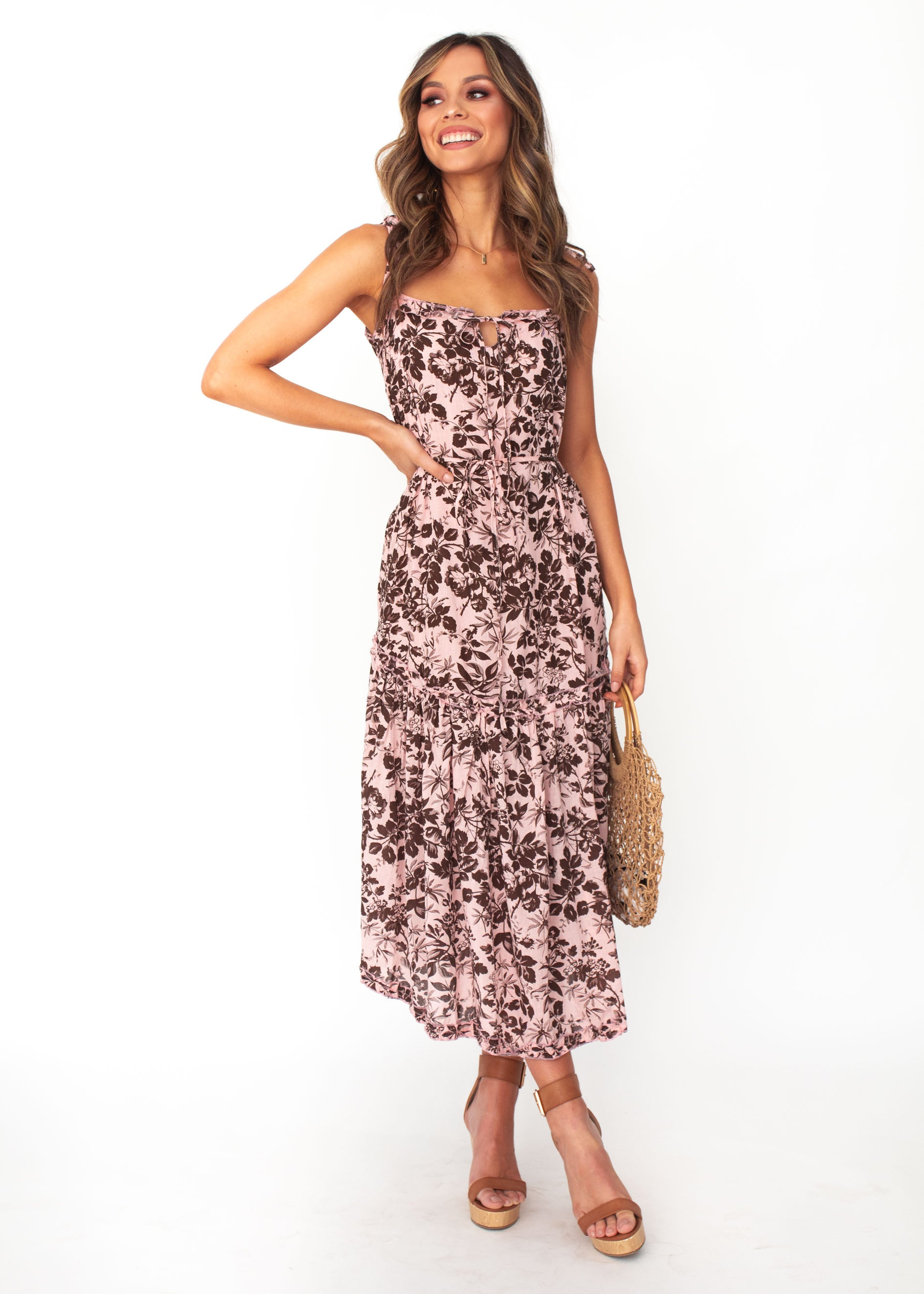 Women's Mayfair Midi Dress - Blush Floral Print