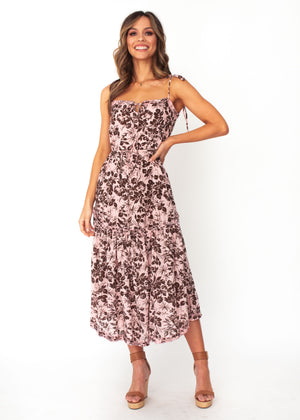 Mayfair Midi Dress - Blush Floral Print