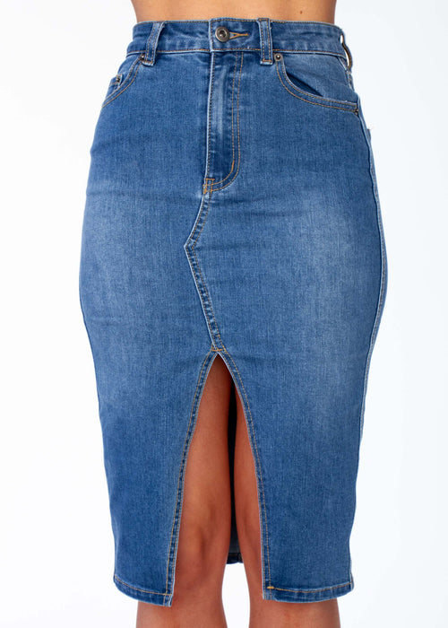 Women's Happy Hour Denim Midi Skirt - Mid Blue