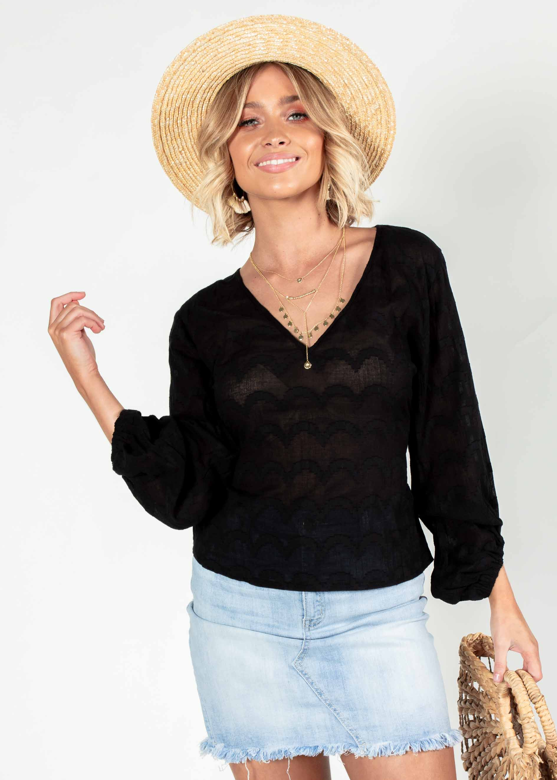Meant To Be Tie Blouse - Black
