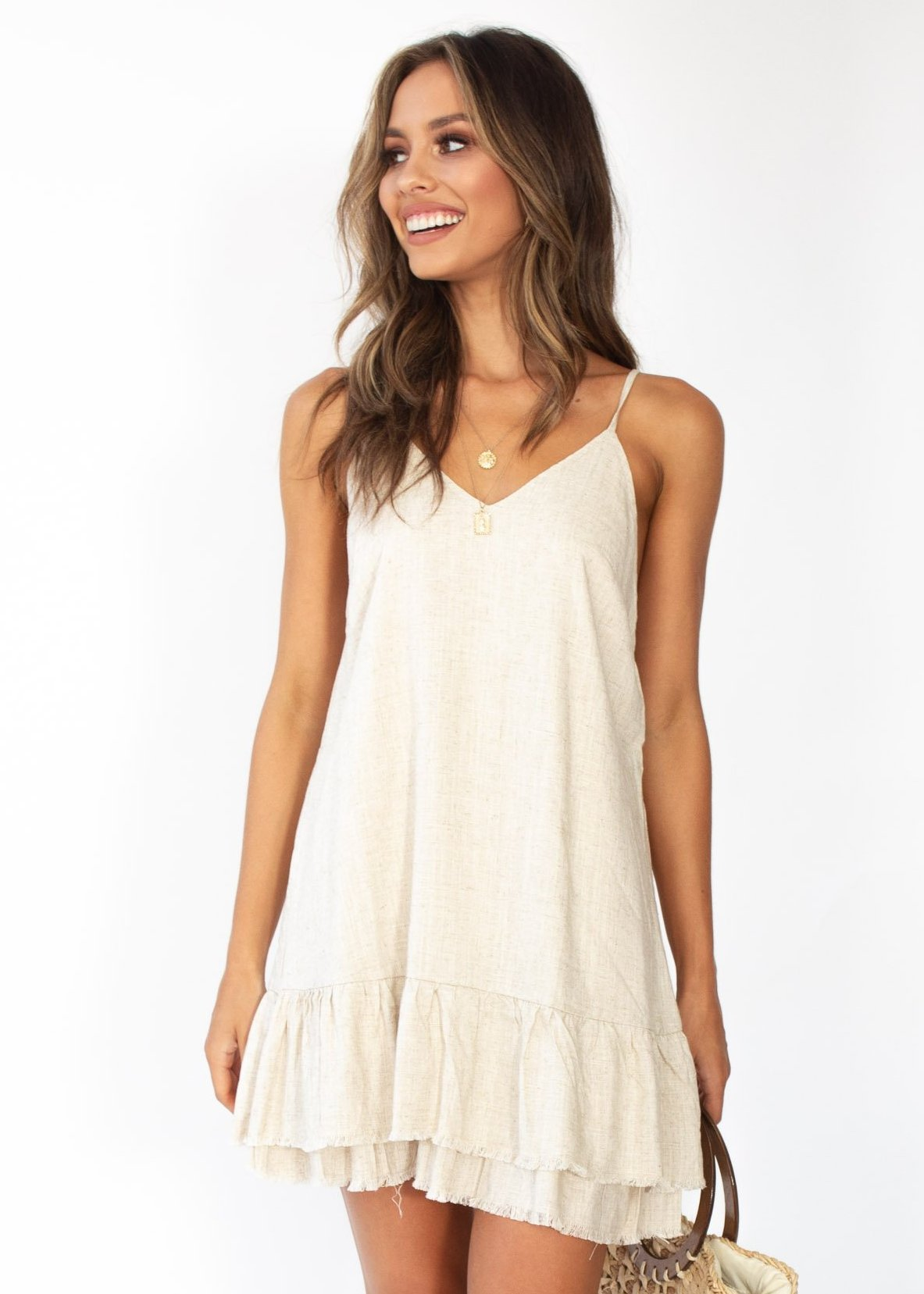 Corrina Linen Swing Dress - Natural