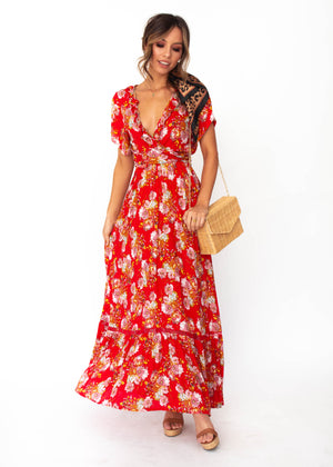 a8d38f41e Mabel Tie Maxi Dress - Red Floral – Gingham and Heels