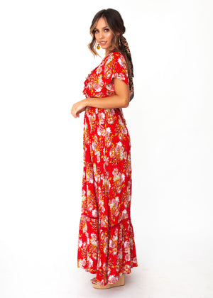 Mabel Tie Maxi Dress - Red Floral
