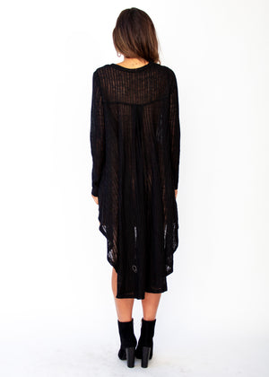 Heartlands Hi-Lo L/S Blouse - Black