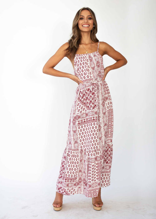 Santorini Maxi Dress - Maroon Paisley