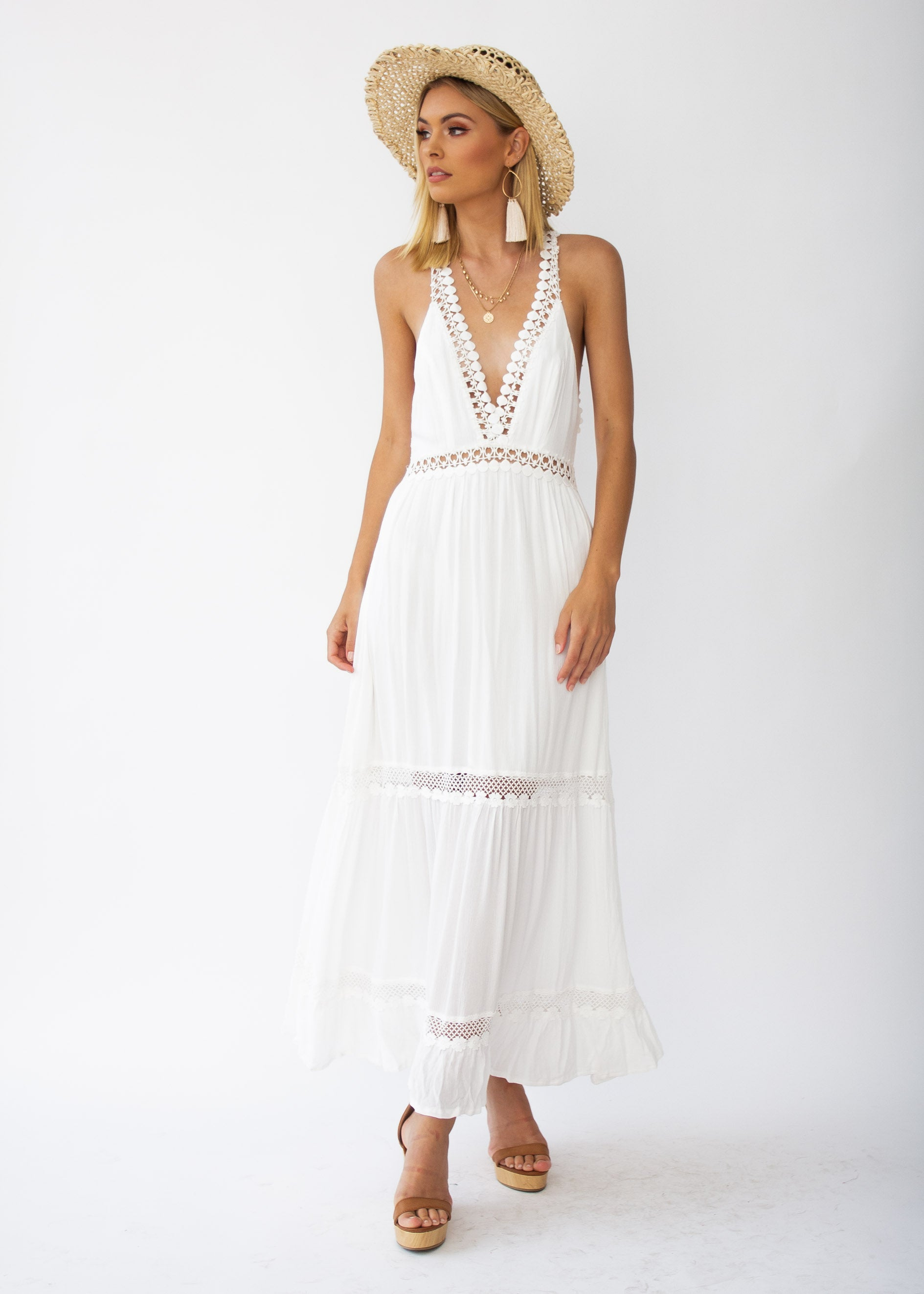 3d4802c3bd0 River Deep Crochet Maxi Dress - White – Gingham and Heels