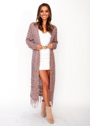 Turning Away Boho Cardigan - Blush